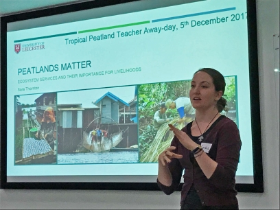 Sara Thornton talking about why tropical peatlands matter. Photo by Sarah Cook.